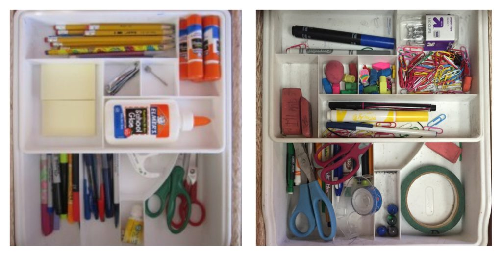 The photo on the left is what the drawer looked like when I first bought the dividers, but over the years, it turned into the mess on the right. :)
